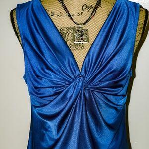 Catherine Malandrino Azure Blue Sleeveless Top Med